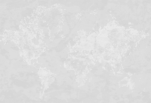 Abstract Dotted Map Gray and White Halftone grunge Effect Background. World map silhouettes. Continental shapes of dots. Radial circular grain background. Vector template easy to edit illustration