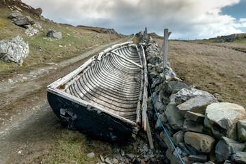 abandoned old fishing boat