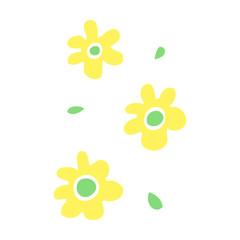 flat color illustration cartoon flower heads