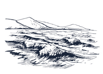 Sea with wave sketch
