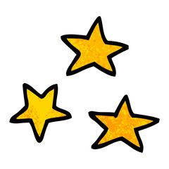 grunge textured illustration cartoon of three stars