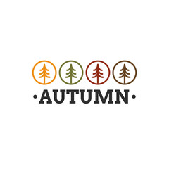 Autumn and fall logo with different color forest icons and custom autumn text.