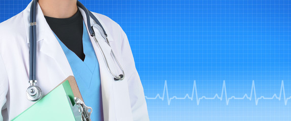 Medical Banner witha female doctor against a blue EKG