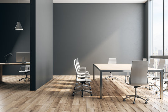 Black office interior