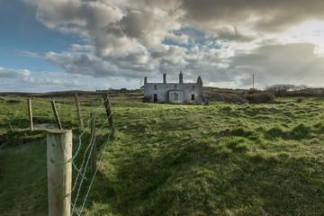 Ruins deserted house and bogland