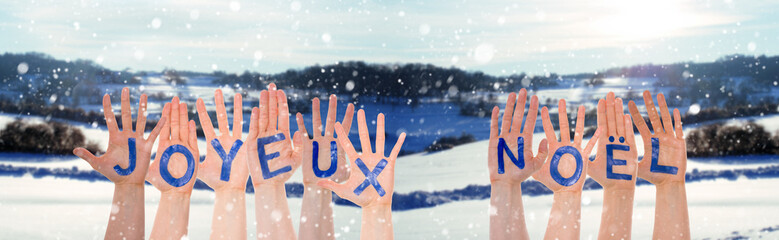 Many Hands Building Joyeux Noel Means Merry Christmas, Winter Scenery