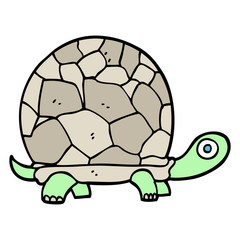 hand drawn doodle style cartoon tortoise