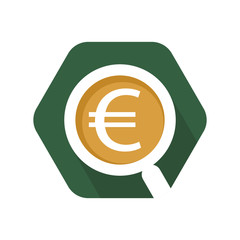 hexagon shape icon with the euro currency trade analysis concept
