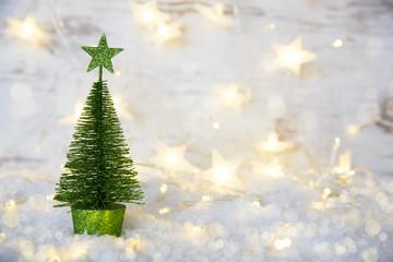 Green Christmas Tree, Fairy Lights, Star, Snow