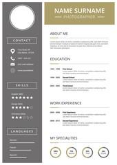 Lebenslauf für Bewerbung, Vorlage mit minimal Design,