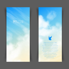 Narrow vertical vector banners with realistic beige-blue sky and cumulus clouds. The image can be used to design a flyer and postcard.