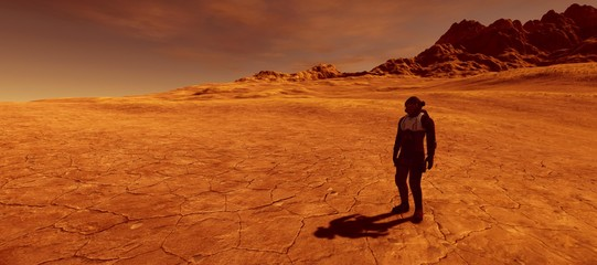 Keuken foto achterwand Zandwoestijn Extremely detailed and realistic high resolution 3d illustration of a human on a mars like planet