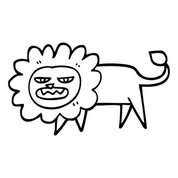 black and white cartoon angry lion