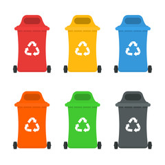 Waste sorting and recycling sorting management concept. Colorful garbage containers and bins