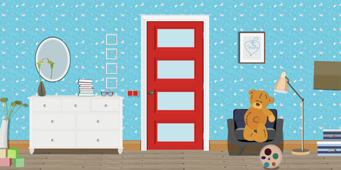 Baby room interior. Flat design. Baby room with a commode, red door, toys, lump. Children's room.