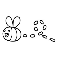 black and white cartoon buzzing bee