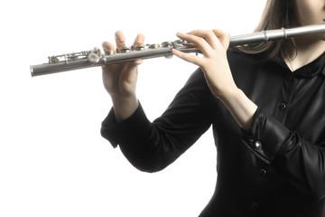 Keuken foto achterwand Muziek Flute instrument. Flutist hands playing flute