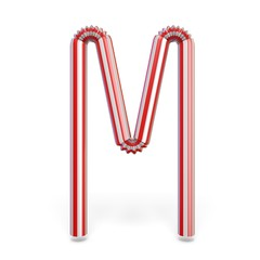 Drinking straw font Letter M 3D