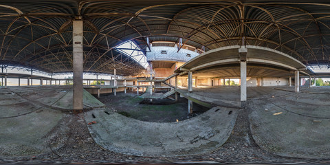 Full spherical seamless 360 degrees angle view panorama concrete structures abandoned unfinished building of airport in equirectangular equidistant projection, VR AR content