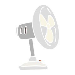 flat color illustration cartoon desktop fan