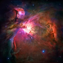 Pink Color-Enchanced Orion Nebula Messier 42 Galaxy Universe Background Wallpaper Original Image by NASA