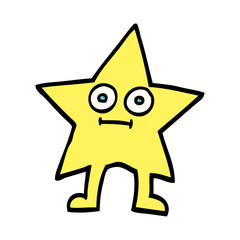 hand drawn doodle style cartoon star character