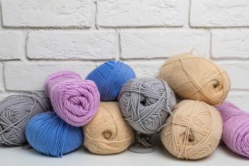 knitting yarn on a white background