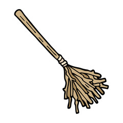 hand drawn doodle style cartoon witches broomstick