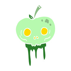 flat color illustration cartoon halloween apple