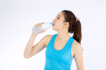 Beautiful portrait asian young woman in sport clothing drink bottle of water for healthy isolated on white background, girl with fit thirsty after exercise and fitness, health concept.