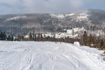 Ski slope in Szczyrk in Beskid Mountains