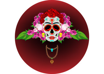 Mexican skull, Calavera with flowers. Decoration for Day of the Dead, Dia de los Muertos. Halloween poster background greeting card or t-shirt design. Vector skulls diadem isolated on white background
