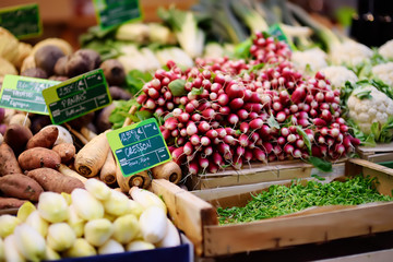Fresh bio vegetables and herbs on farmer market in Strasbourg, France