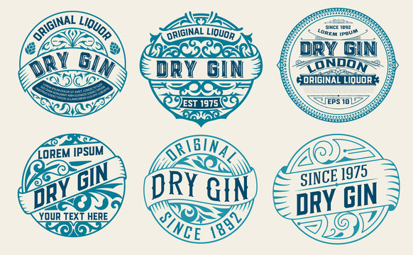Set of 6 labels or badges for packing