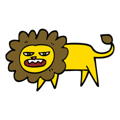 hand drawn doodle style cartoon angry lion
