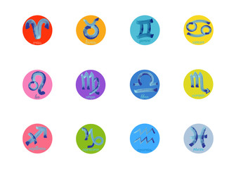 Set icon of zodiac, Vector isolated icon. astrological signs, colorful image of horoscope. Watercolour style. Horoscope zodiac signs. Astrology symbols set