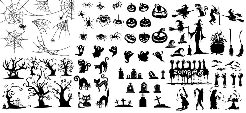 Big collection of Happy Halloween Magic collection, Hand drawn vector illustration.