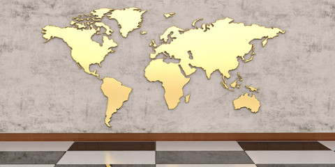 Golden world map on the wall 3D illustration.