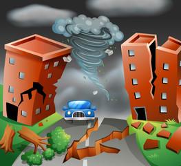 Tornado diaster town scene
