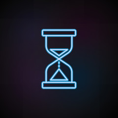 hourglass icon in neon style. One of Speed collection icon can be used for UI, UX