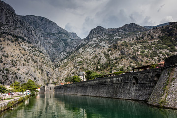 The old Mediterranean port of Kotor is surrounded by fortifications built during the Venetian period.
