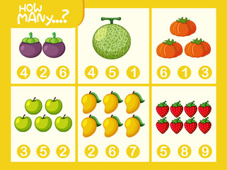 Fruit math number worksheet