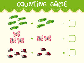 Insect math counting worksheet