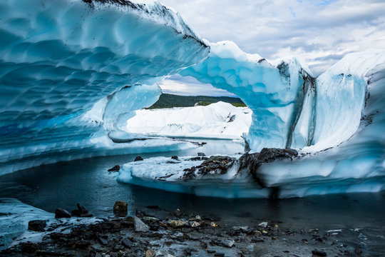 Two fins of ice seem to create an arch on the Matanuska Glacier in Alaska