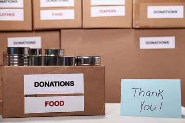 Donation boxes at a donation center