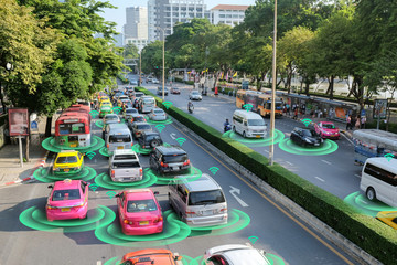 Smart car, self-driving mode vehicle with Radar signal system and and wireless communication, Autonomous car.