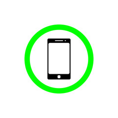 Allow using smart phone sign vector flat icon. talking and calling icon illustration