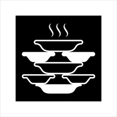 Stack Of Food Plates Icon