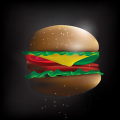 The fast food  Hamburger vector  in dark tone mood background image.