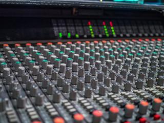 Control board in the sound studio